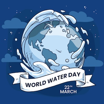 Hand-drawn world water day illustration with planet earth