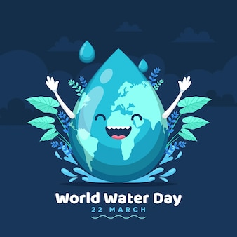 Hand-drawn world water day illustration with planet and water drop