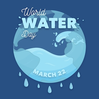 Illustrazione di giornata mondiale dell'acqua disegnata a mano con il pianeta