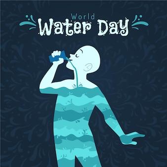 Hand drawn world water day