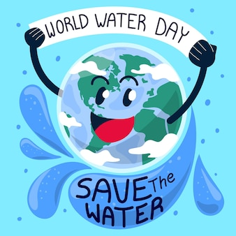 Giornata mondiale dell'acqua disegnata a mano
