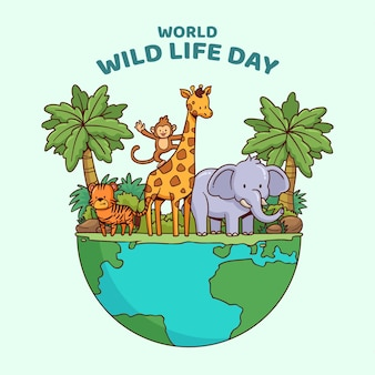 Hand drawn world wildlife day illustration