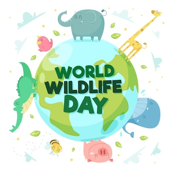 Hand drawn world wildlife day
