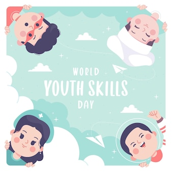 Hand drawn world youth skills day illustration background