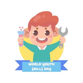 손으로 그린 세계 청소년 기술의 날 그림