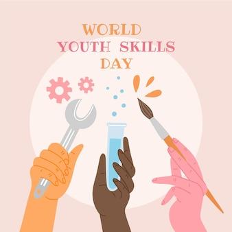 Нарисованная рукой иллюстрация всемирного дня навыков молодежи