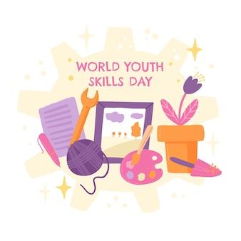 Hand drawn world youth skills day illustration