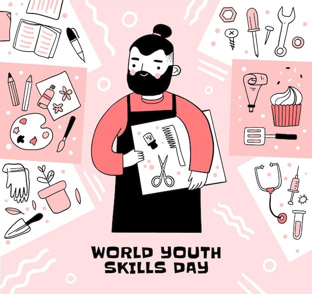 Illustrazione disegnata a mano della giornata mondiale delle abilità giovanili