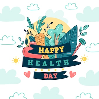 Hand drawn worldwide health day with foliage and veggies