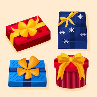 Ручной обращается обернутые подарочные коробки на рождество