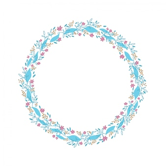 Hand drawn wreath. floral circle frame design with delicate branches and leaves