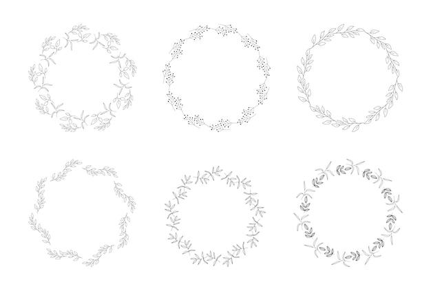 Hand drawn wreath frames. botanical circle vector illustration.