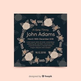 Hand drawn wreath funeral card template