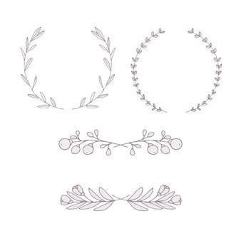 Hand drawn wreath ornament set
