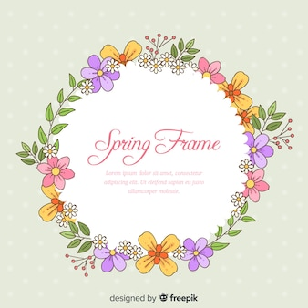 Hand drawn wreath spring background