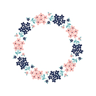 Hand drawn wreath with pink and dark blue flowers with white background