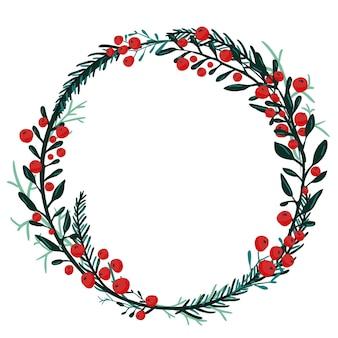Ручной обращается венок с красными ягодами и еловыми ветками. круглая рамка для рождественских открыток и зимнего дизайна. векторный макет с copyspace.