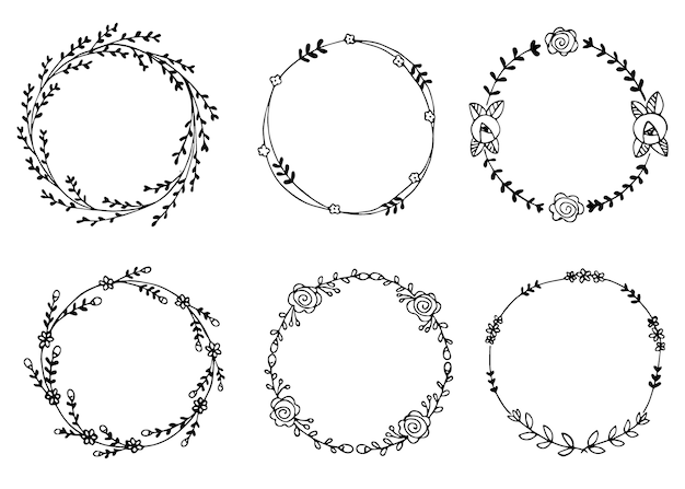 Hand drawn wreaths vector illustration design elements for invitations
