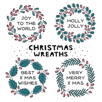 Hand drawn wreaths with berries and branches