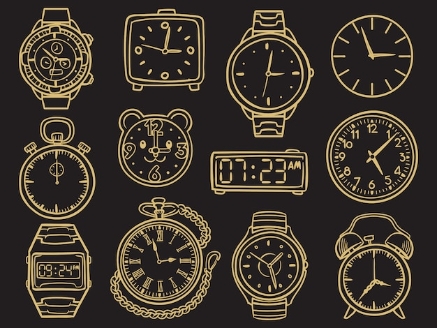 Hand drawn wristwatch, doodle sketch watches