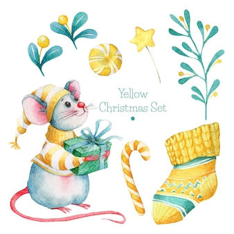 Hand drawn yellow christmas set