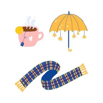 Ручной обращается желтый милый зонтик со звездами, чашка чая, клетчатый шарф.