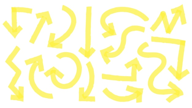 Hand drawn yellow highlighter arrows, pointers in different directions. curly and wavy arrowheads going up, down, left and right. doodle marker pen lines in arch form vector illustration