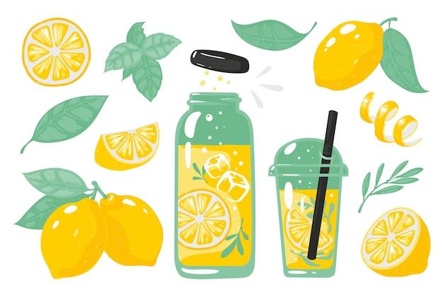 손으로 그린 노란색 레몬. 레몬 병 유리와 짚의 조각으로 여름 차가운 레모네이드.