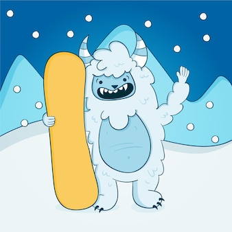 Hand-drawn yeti abominable snowman illustration