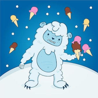 Hand-drawn yeti abominable snowman illustration