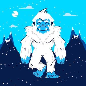 Yeti abominevole pupazzo di neve illustrazione disegnata a mano