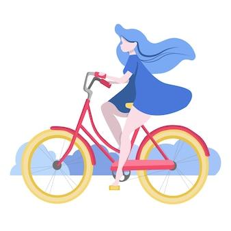 Нарисованная от руки молодая девушка в синем платье катается на велосипеде