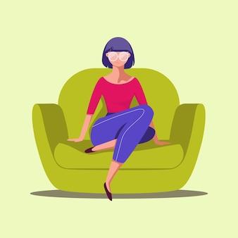 椅子に座っている手描きの少女