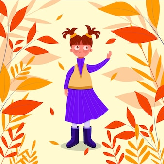Hand-drawn young girl walking in the autumn parkhand-drawn young girl walking in the autumn parkhand-drawn young girl walking in the autumn park