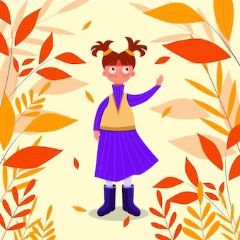 秋の公園を歩く手描きの少女秋の公園を歩く手描きの少女秋の公園を歩く手描きの少女