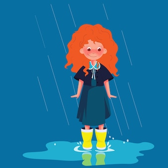 Hand-drawn young girl walking in the rain