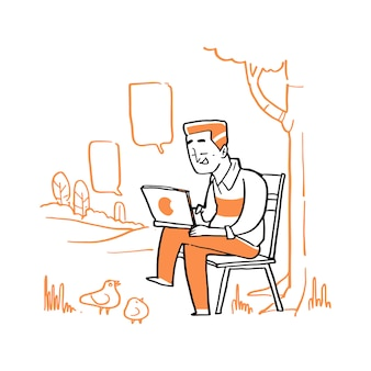 Hand drawn young man sit on the bench and use laptop at the park