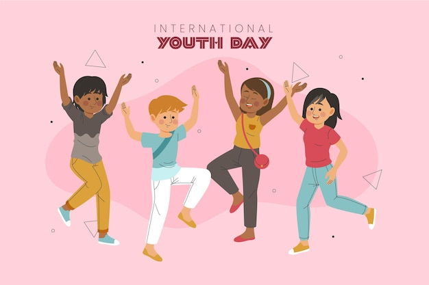 Hand drawn young people celebrating youth day illustrated