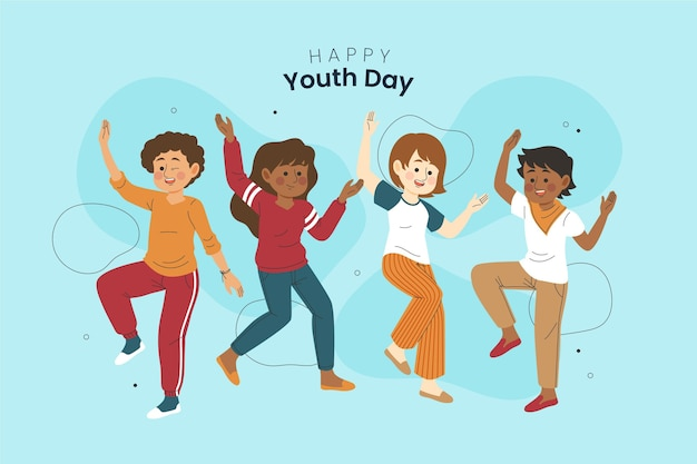 Hand drawn young people celebrating youth day