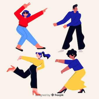 Hand drawn young people dancing collection