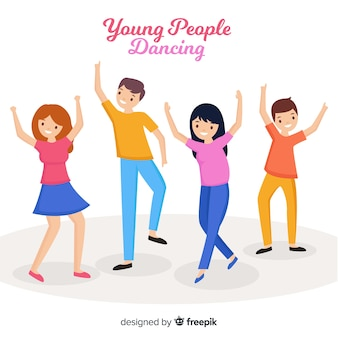 Hand drawn young people dancing illustration