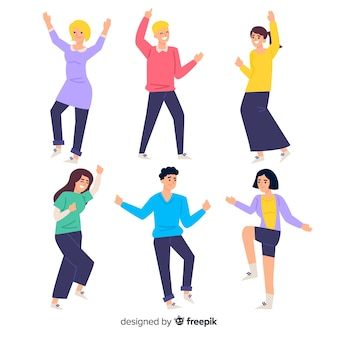 Hand drawn young people dancing