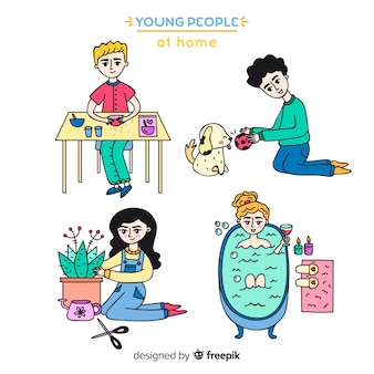 Hand drawn young people at home