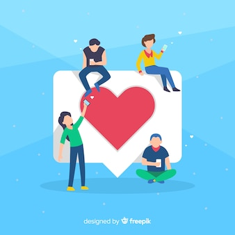 Hand drawn young people social media heart concept background