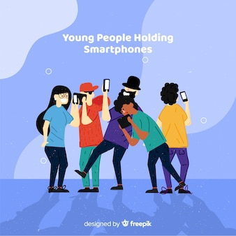 Hand drawn young people using smartphone set