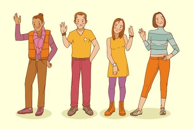 Hand drawn young people waving hand set