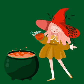 Hand drawn young witch adding potion to cauldron