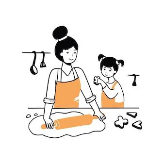 手描きの若い女性と子供