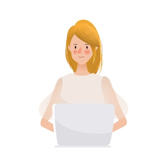Hand drawn young woman working on laptop character.