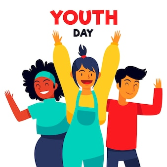Hand drawn youth day concept